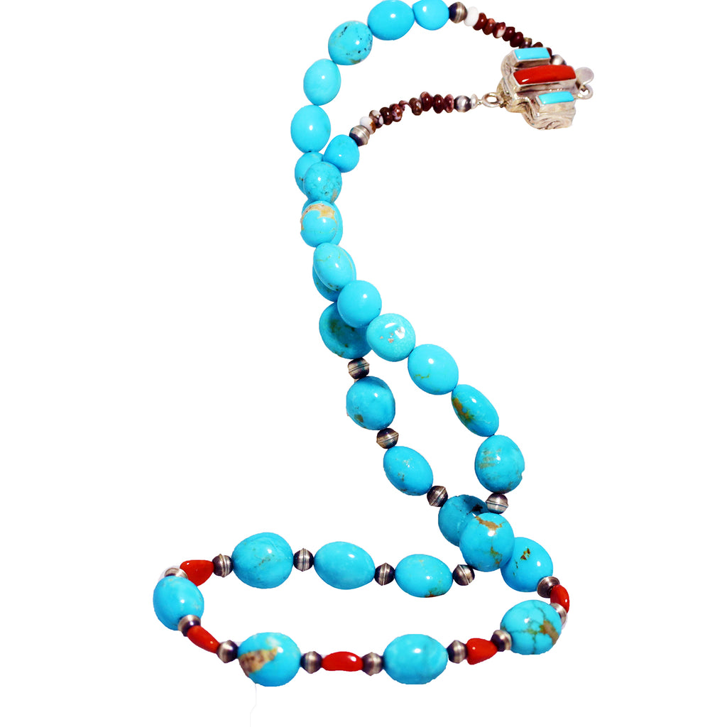KINGMAN TURQUOISE and CORAL Necklace Southwest Elegance 22""