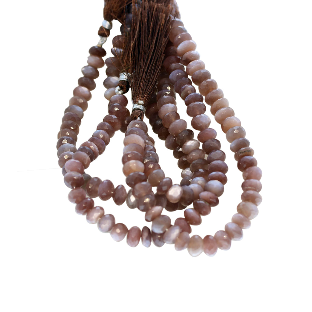 MOONSTONE BEADS Chocolate Faceted Rondelles 8mm 8""