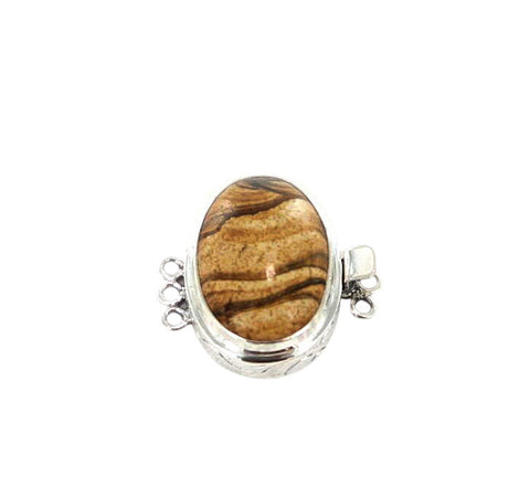 PICTURE JASPER CLASP STERLING 3 STRAND STYLE - New World Gems