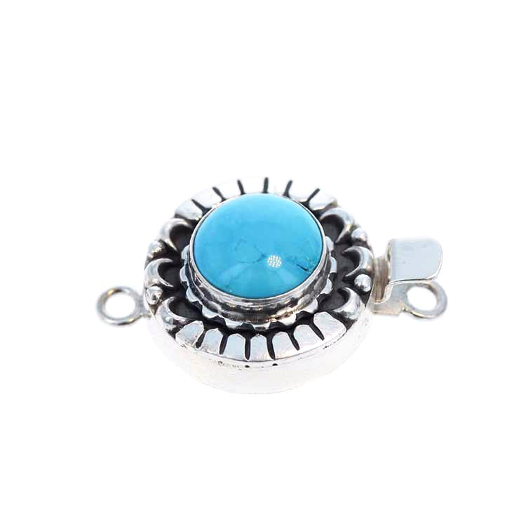 KINGMAN TURQUOISE CLASP Round 12mm Sterling Moon Design