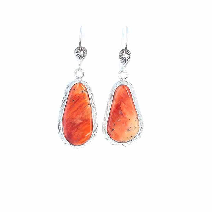 Orange Spiny Oyster Earrings Sterling Teardrops Etched