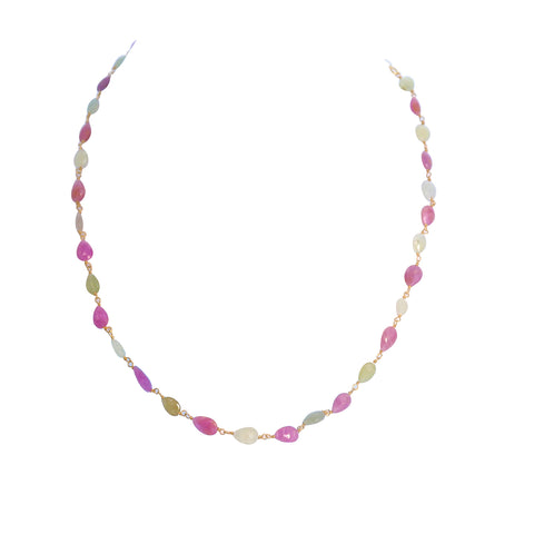 SAPPHIRE NECKLACE Faceted Multi Color Beads 16-19""