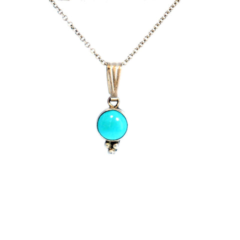 SLEEPING BEAUTY TURQUOISE PENDANT Necklace Round 7mm 16""