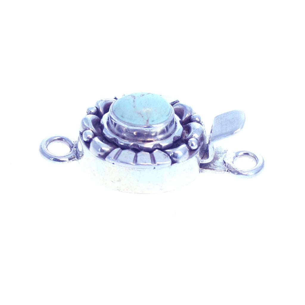 WHITE CREEK TURQUOISE Sterling Clasp Moon Design 5x7mm