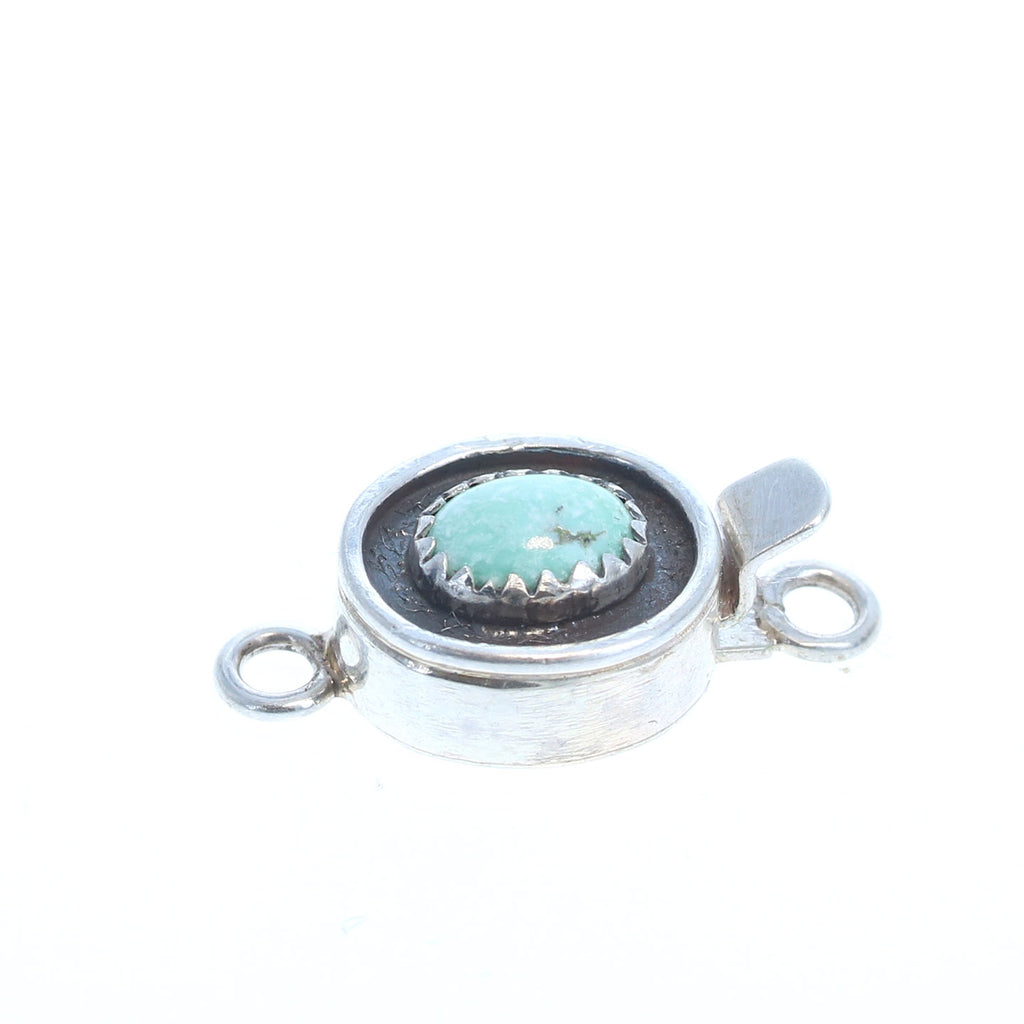 WHITE CREEK TURQUOISE Serrated Bezel Sterling Clasp 8x6mm