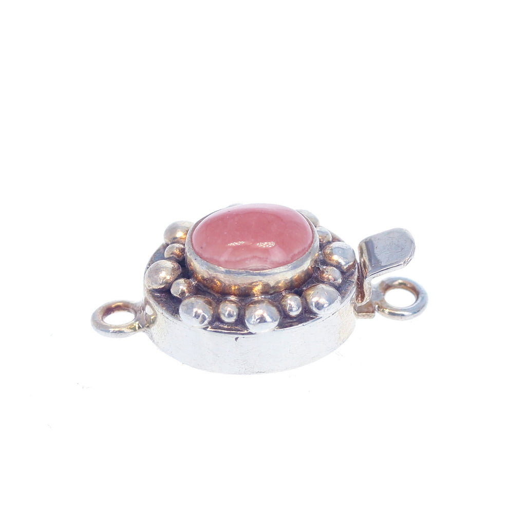 Rhodochrosite Clasp Dot Design 9x11mm Pale Pink