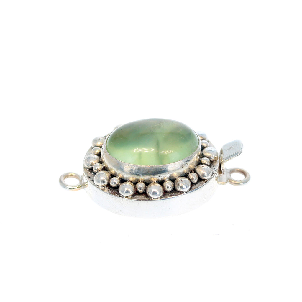 PREHNITE Clasp Sterling Large Oval Ball Design
