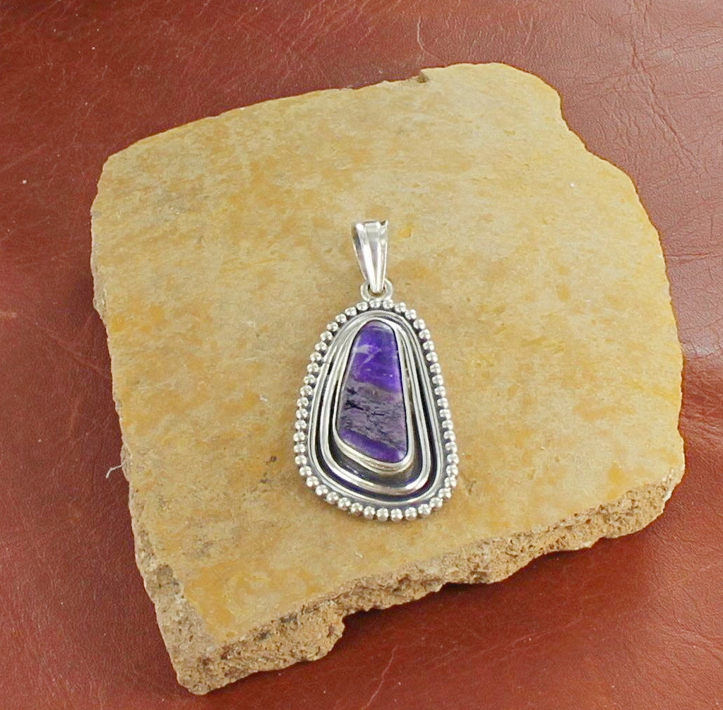 SUGILITE PENDANT STERLING SILVER LARGE FREE FORM #3 - New World Gems - 2