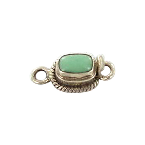 VARISCITE CLASP STERLING CUSHION 8.5x5.5mm - New World Gems