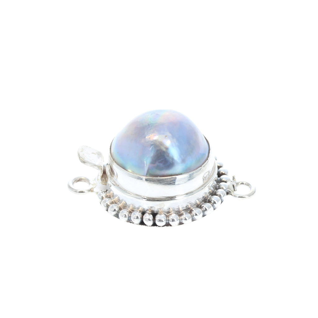 MABE PEARL CLASP Ball Design 14-15mm Silver Grey