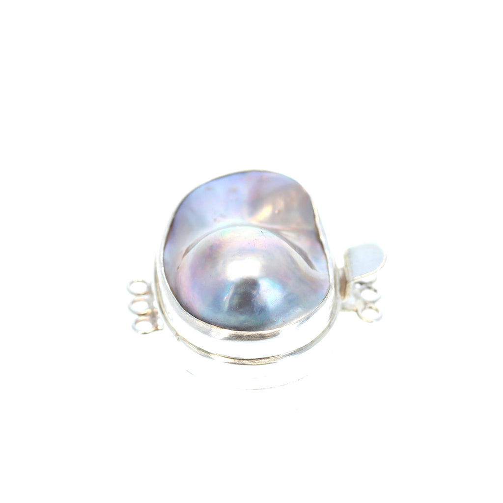 SILVER MABE PEARL Clasp Large Sterling 3 Strand