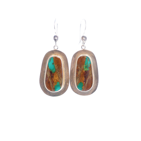 Exquisite Multi Color Painterly KINGMAN TURQUOISE Earrings Southwest
