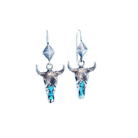 Sterling and Kingman Turquoise Cow Skull Earrings