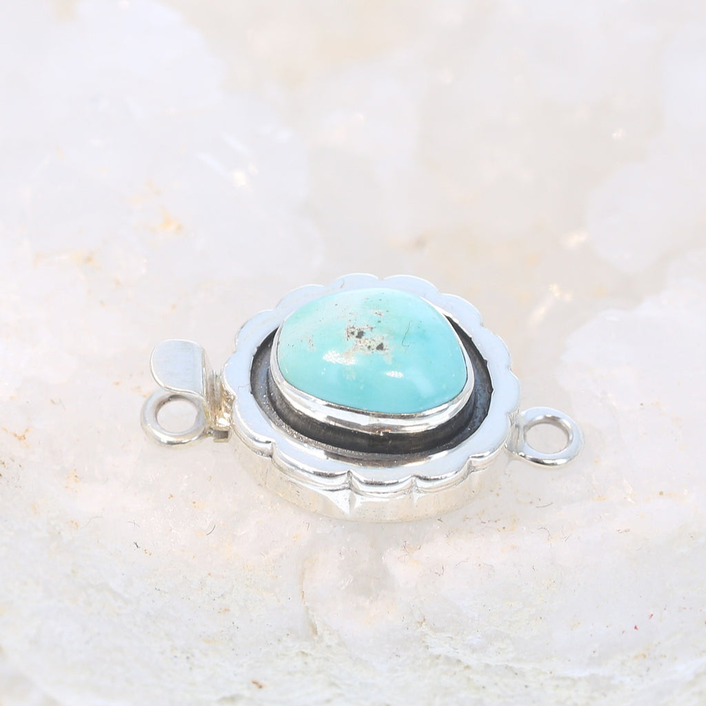 Scalloped Edge Clasp Dry Creek Turquoise Sterling