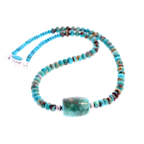 KINGMAN TURQUOISE NECKLACE Rondelles and Barrel 17""