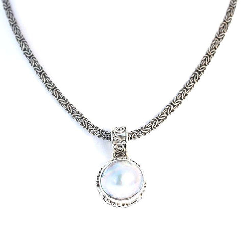 MABE PEARL Pendant Round Necklace Spiral Design Sterling