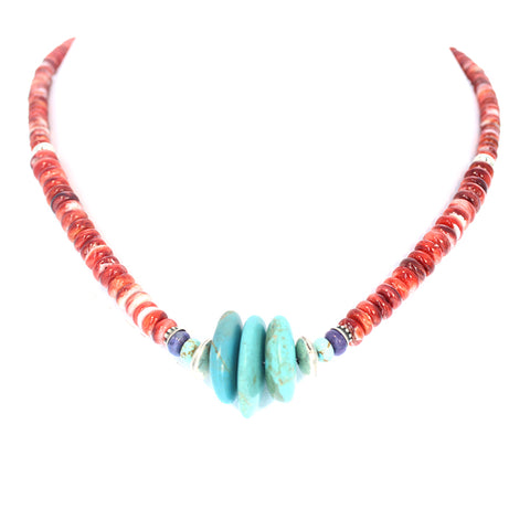 TURQUOISE NECKLACE #8 Mine Red Spiny Oyster Southwest 20""