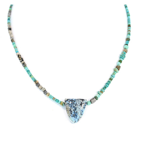 White Buffalo and Carico Lake Turquoise Necklace with Ancient Glass Beads