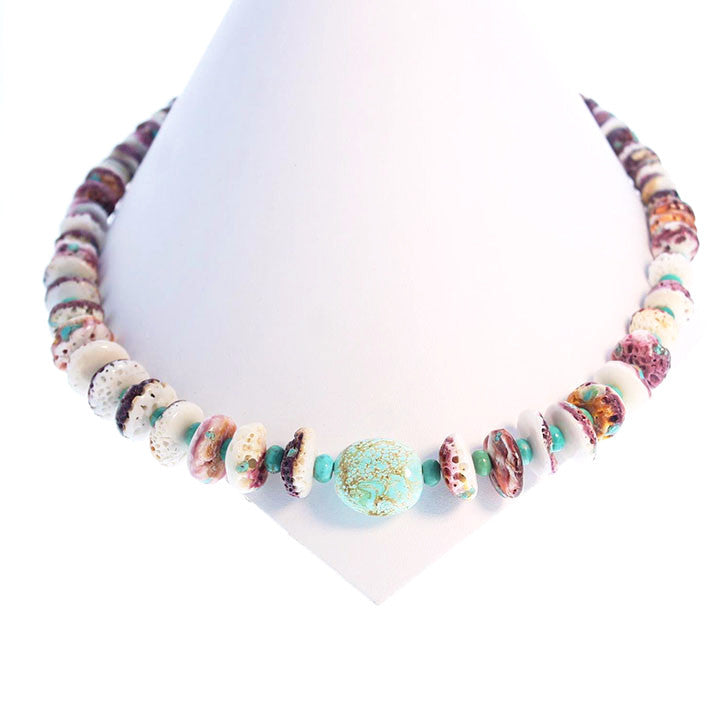 PURPLE SPINY OYSTER Nevada Turquoise Necklace 20""