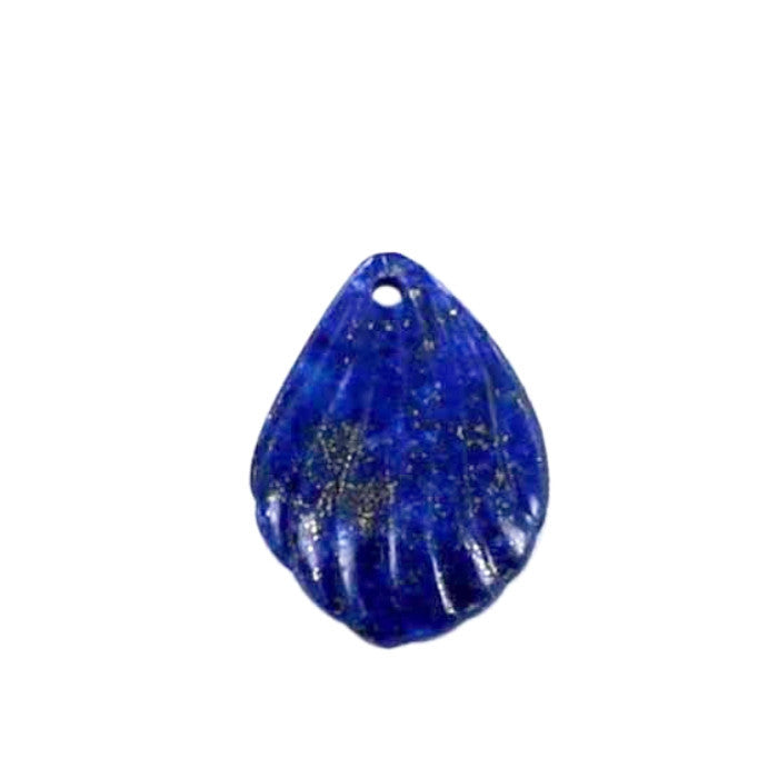 LAPIS CARVED SHELL BEAD Pendant - New World Gems - 1