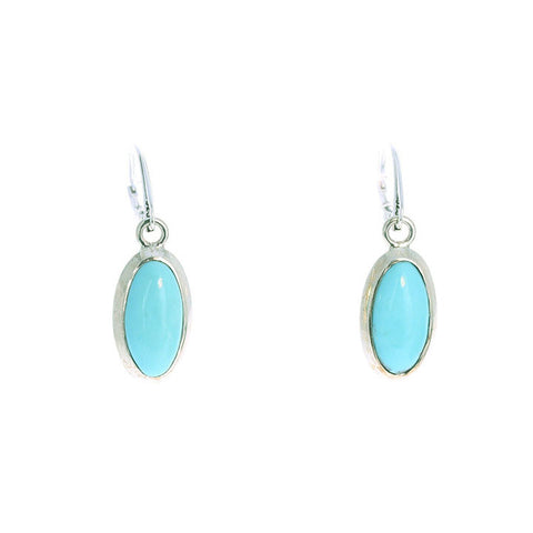 CAMPITOS TURQUOISE EARRINGS Long Oval Shape Sterling