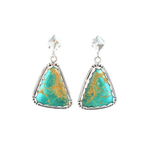 INCREDIBLE KINGMAN TURQUOISE Earrings Sterling Teal Earth