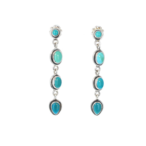 Fox Turquoise Earrings Sterling Southwest 4 Stone