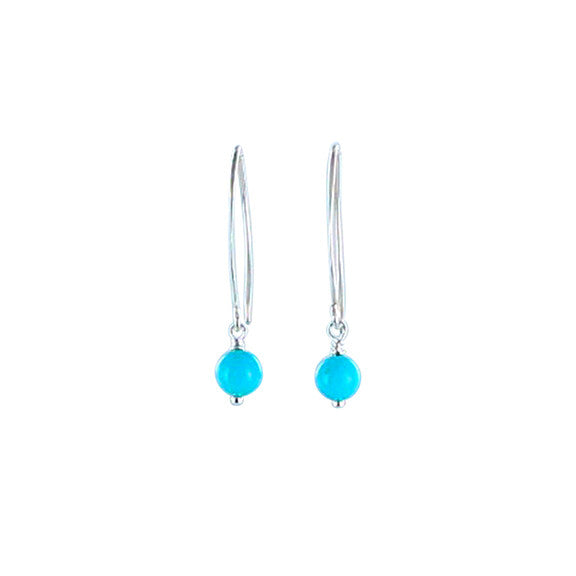 Sleeping Beauty Turquoise Earrings Sterling 6mm Long Hoop - New World Gems - 1