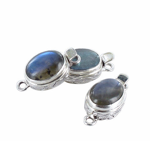 LABRADORITE CLASP Large Oval Sterling - New World Gems - 1