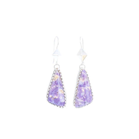 Lavender Mexican Opal Earrings Sterling Triangle Shaped