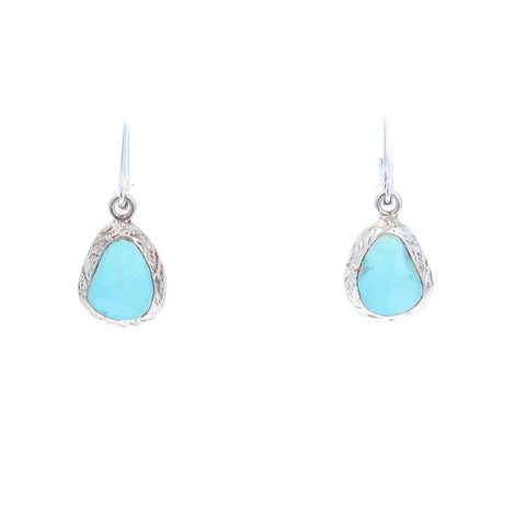 Sky Blue Mexican TURQUOISE EARRINGS Free Form Shape Sterling