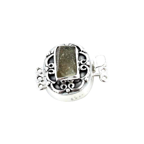 ANTIQUE ROMAN GLASS Clasp Sterling Silver Light Olive - New World Gems