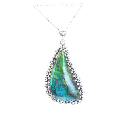 Incredible PARROT WING CHRYSOCOLLA Pendant Sterling Evening Blue