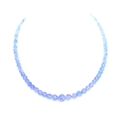 TANZANITE BEADS Faceted Graduated Round Necklace 16""