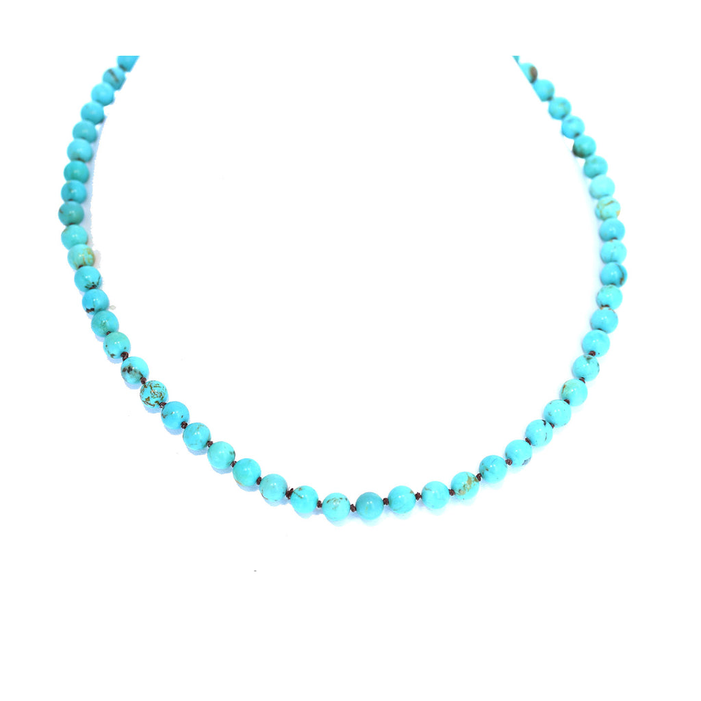 AAA TURQUOISE NECKLACE Knotted 6.8mm Round Beads