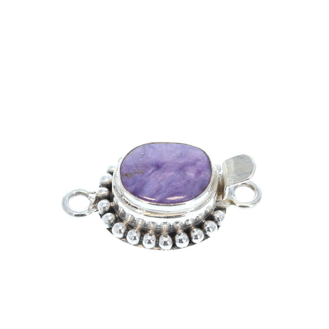 Charoite Clasp Free Form 13-16mm Sterling Silver