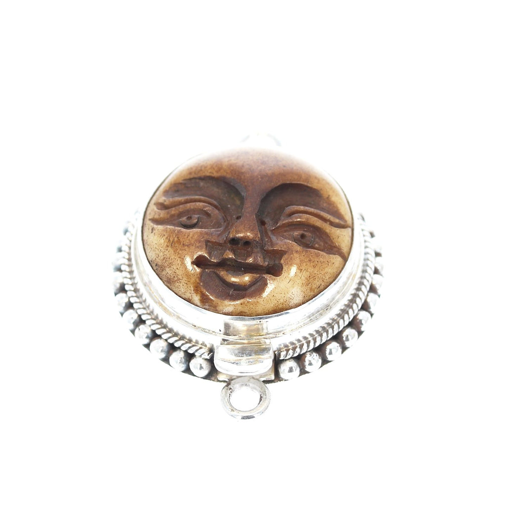 Carved Moon Face Clasp Sterling Silver
