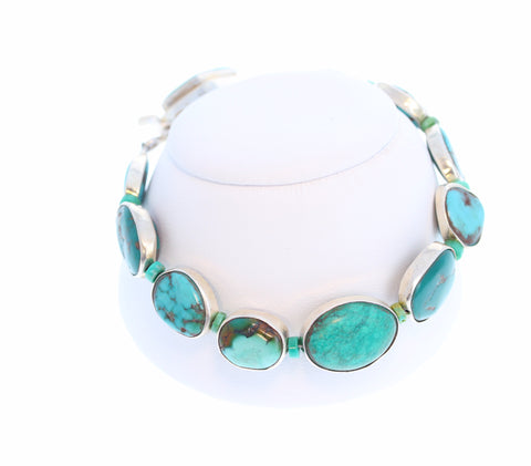Sterling Rimmed Multi Color TURQUOISE Bracelet