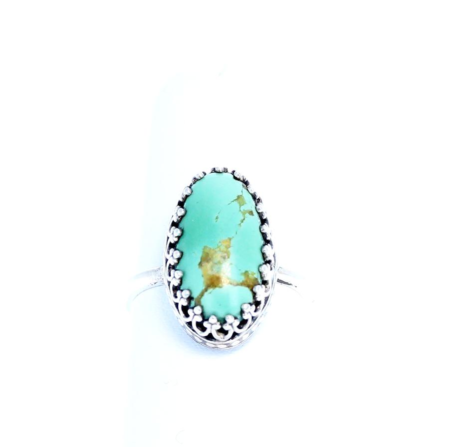 Green ARMENIAN TURQUOISE Ring Sterling Size 6