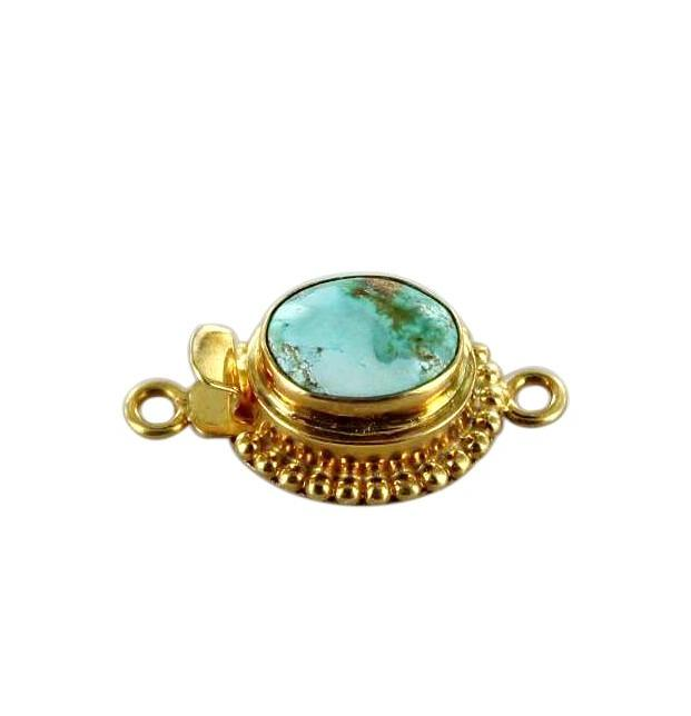 18k GOLD CLASP ARMENIAN Turquoise 12x8mm Pale Blue - New World Gems