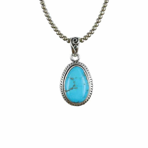 KINGMAN TURQUOISE PENDANT Teardrop Shape #1 - New World Gems