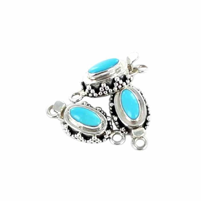 Sleeping Beauty Turquoise Clasp Oval 10x5mm Granulated Design - New World Gems