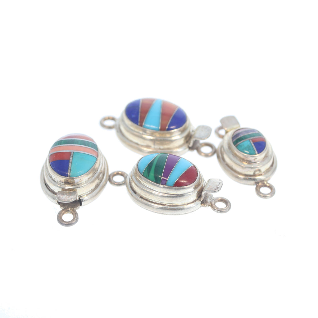 Multi Color Resin Sterling Oval Clasps Set of 4