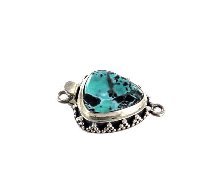 CARICO LAKE TURQUOISE TRIANGLE CLASP STERLING #3 - New World Gems