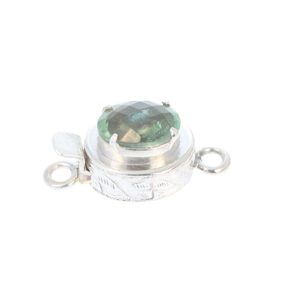 Green Fluorite Clasp Faceted Sterling Oval