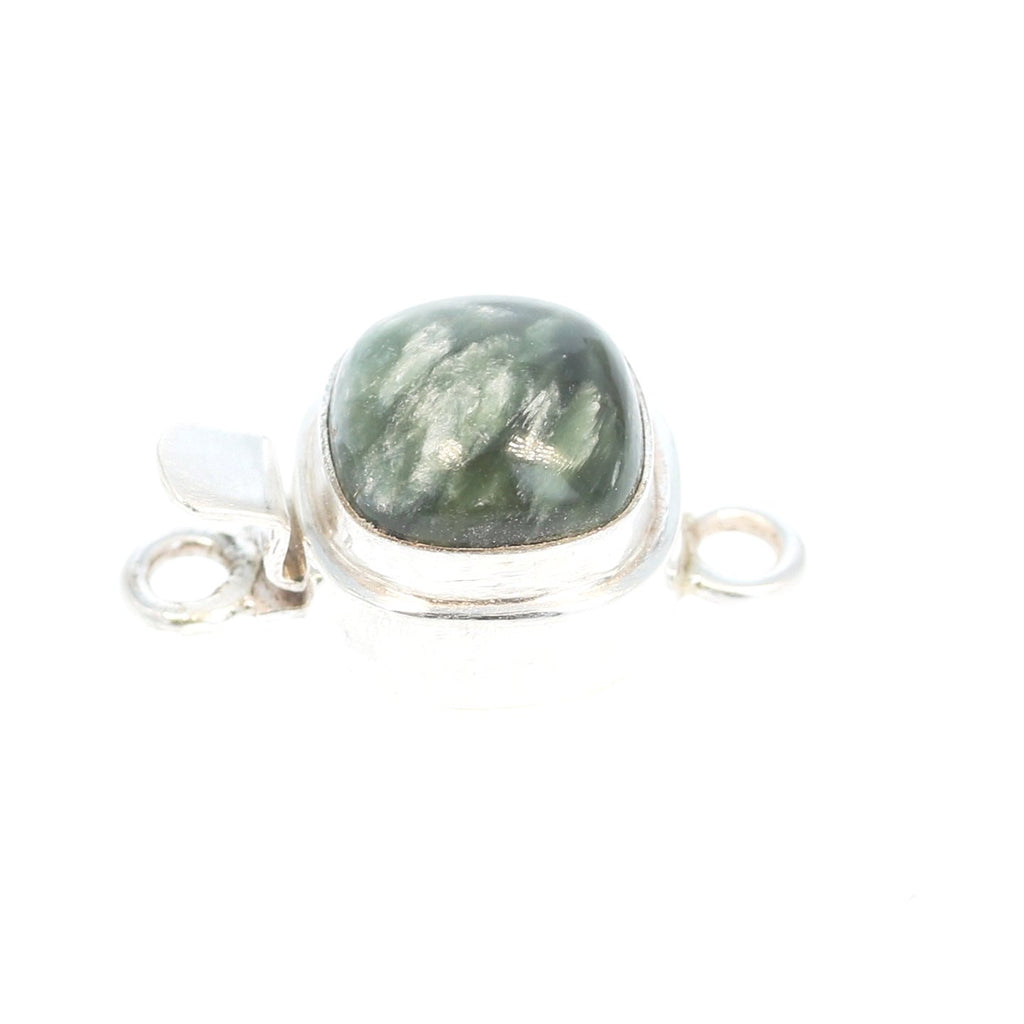 Seraphinite Clasp Sterling Silver 10mm Cushion Classic