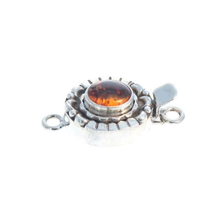 BALTIC AMBER CLASP Moon Petal Design Sterling