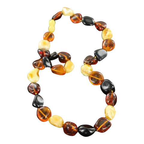"BALTIC AMBER BEADS NECKLACE MULTICOLOR 18.5"" - New World Gems"