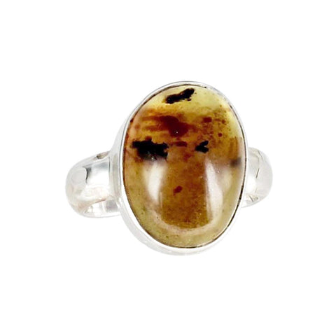 SUMATRA AMBER Ring 18x15mm Sterling Silver Sze 8.5 - New World Gems - 1