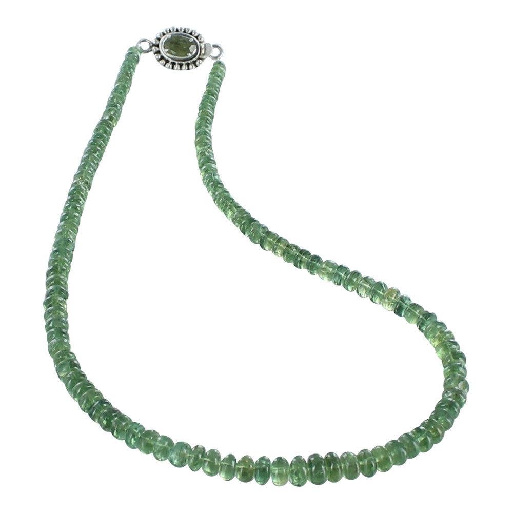 "APATITE NECKLACE RONDELLE BEADS GREEN 4.5-7.5mm 17"" - New World Gems"